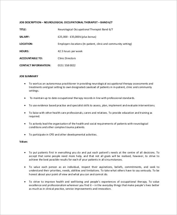 neurological occupational therapist job description