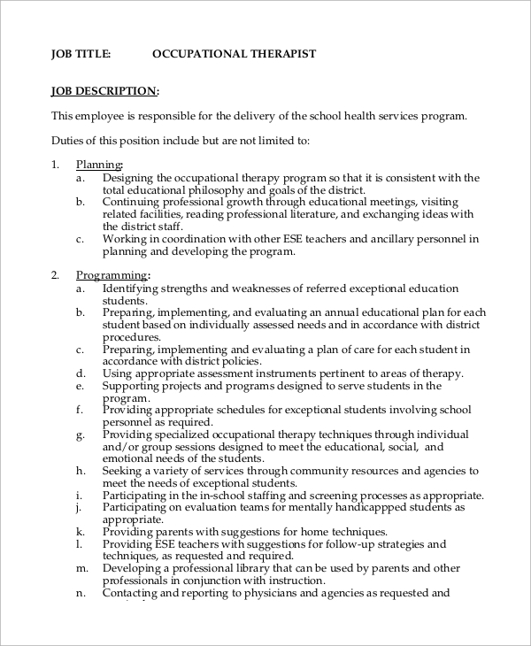 Sample Occupational Therapist Job Description   Examples In Word