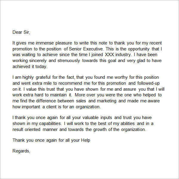 Exceptional Job Promotion Thank You Letter