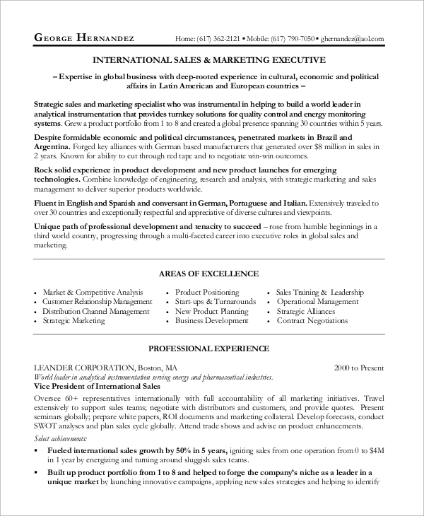 marketing and sales manager resume - Resume Samples For Sales Manager