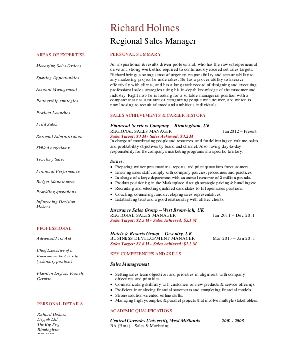 regional-sales-manager-resume