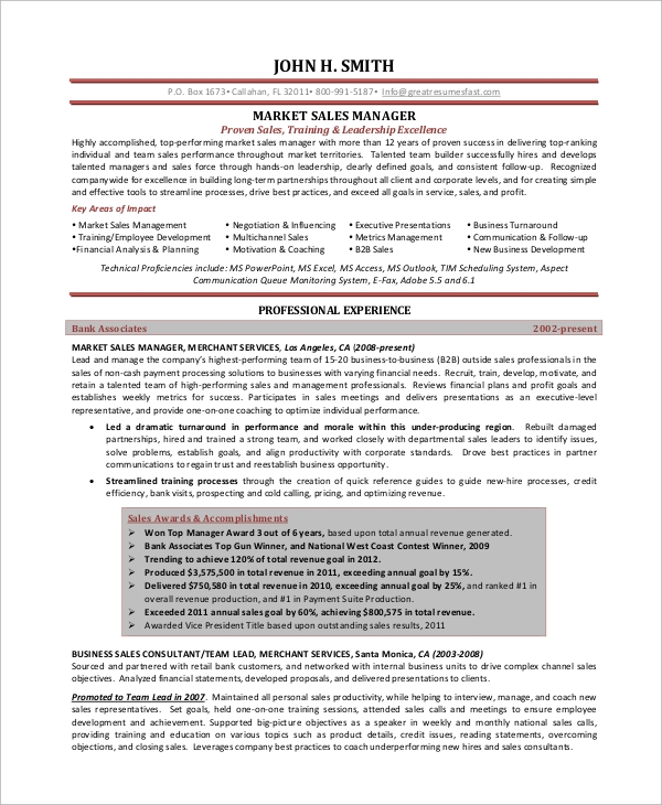 Sample Sales Manager Resume 9 Examples in Word PDF – Sales Manager Resume Samples