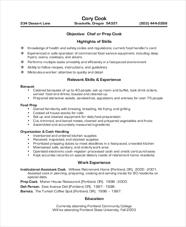 example cv chef de partie