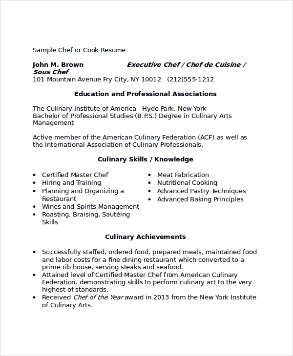 sample cook chef resume - Professional Chef Resume
