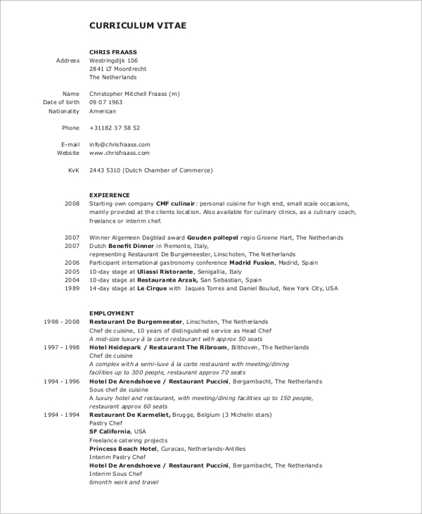 Sample Chef Resume  9 Examples