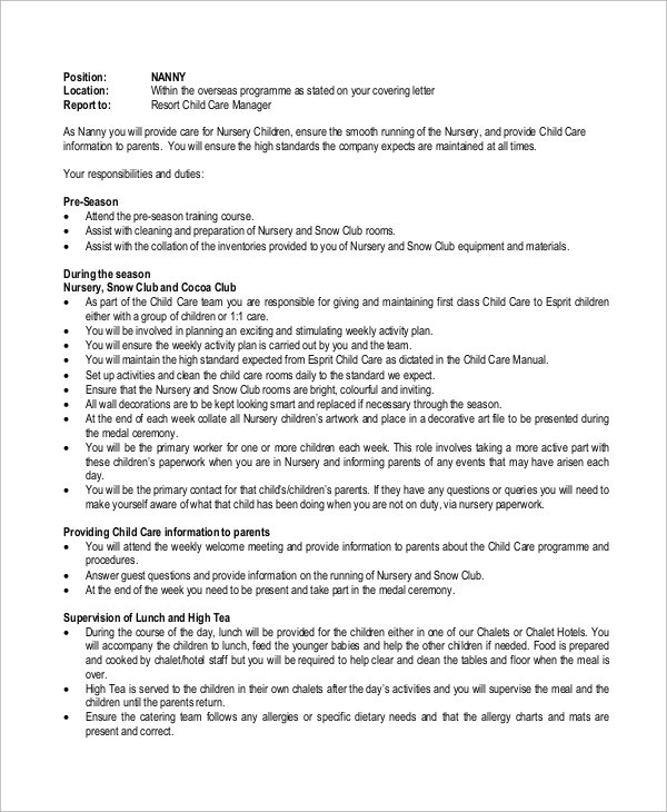 Sample Nanny Job Description - 8+ Examples In Word, Pdf