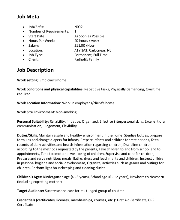 Sample Nanny Job Description 8 Examples In Word Pdf