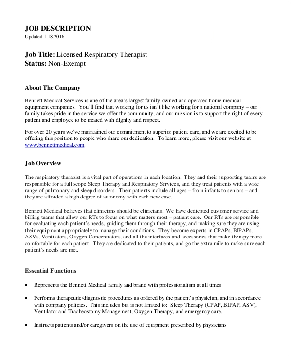 Sample Respiratory Therapist Job Description 10 Examples in PDF – Respiratory Therapist Job Description