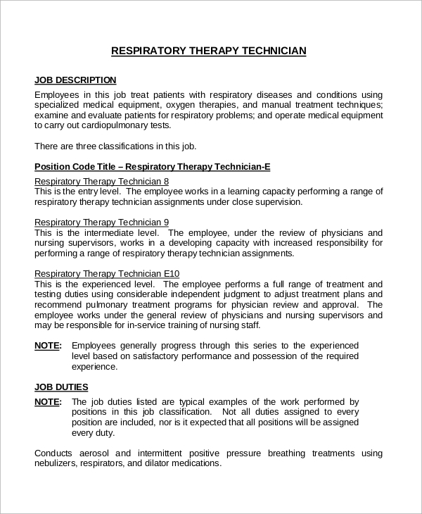 Sample Respiratory Therapist Job Description   Examples In