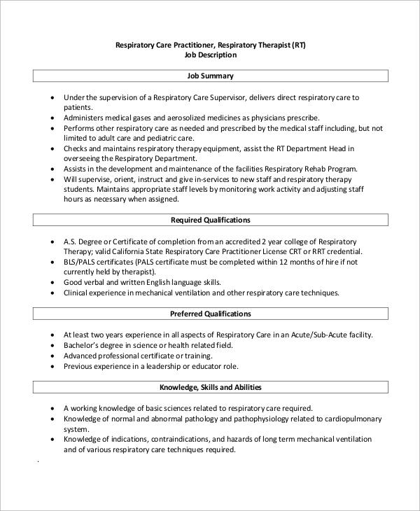10+ Respiratory Therapist Job Description Samples | Sample Templates