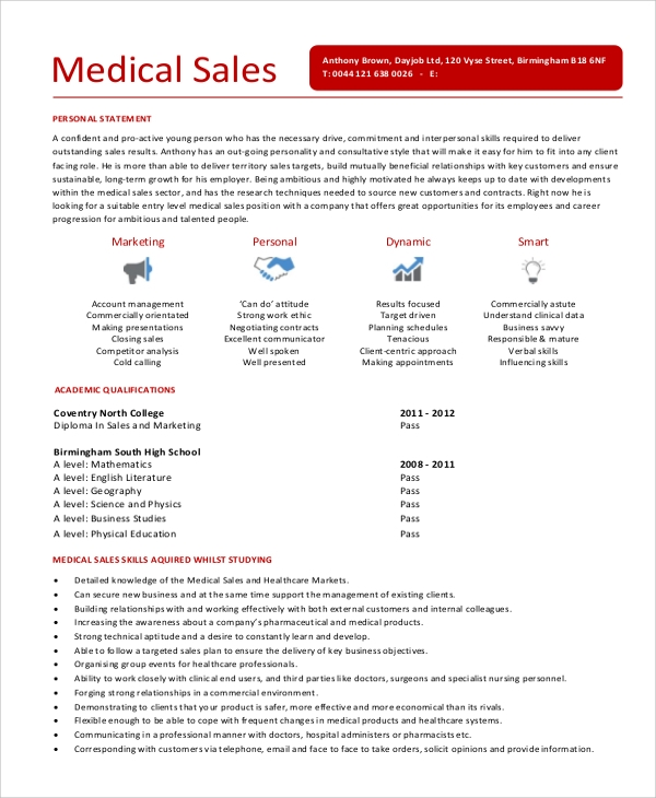 sample sales representative resume