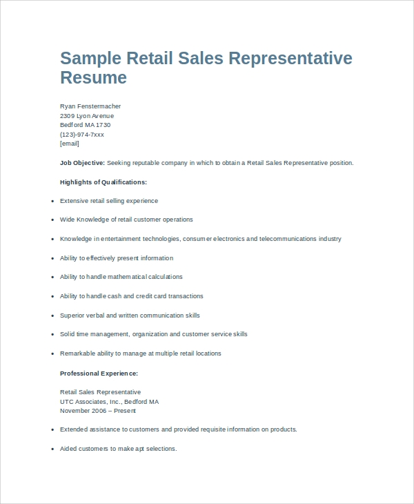 retail sales representative resume