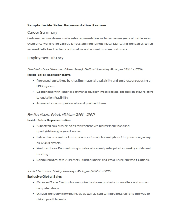 inside sales representative resume