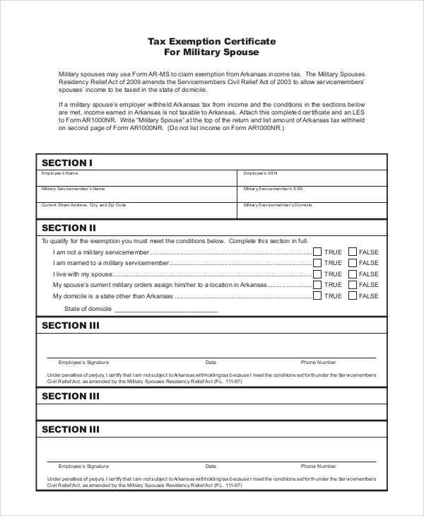 Sample Tax Exemption Form   Examples In Pdf
