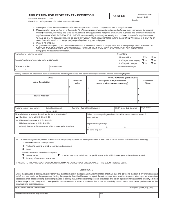 property tax exemption form