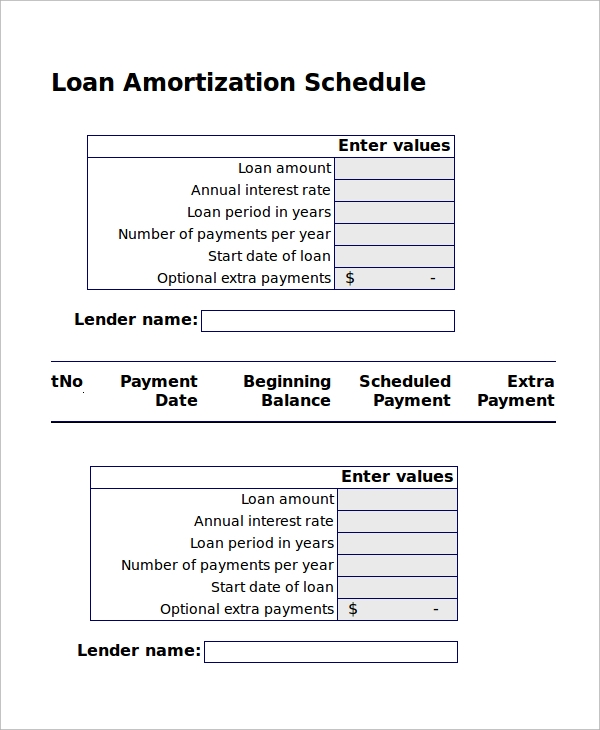 Sample Excel Amortization Schedule   Examples In Excel