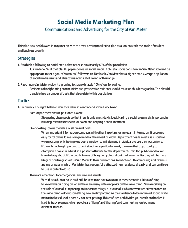 Sample Social Media Marketing Plan   Examples In Pdf