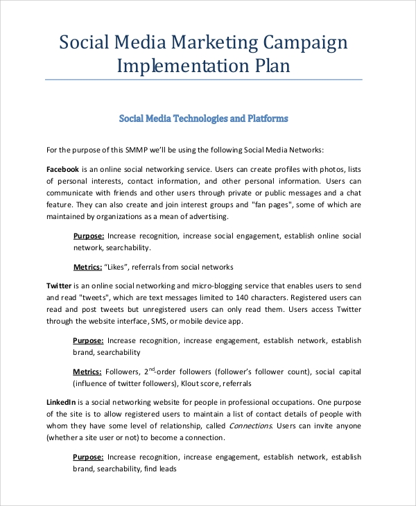 Sample Social Media Marketing Plan - 8+ Examples In Pdf