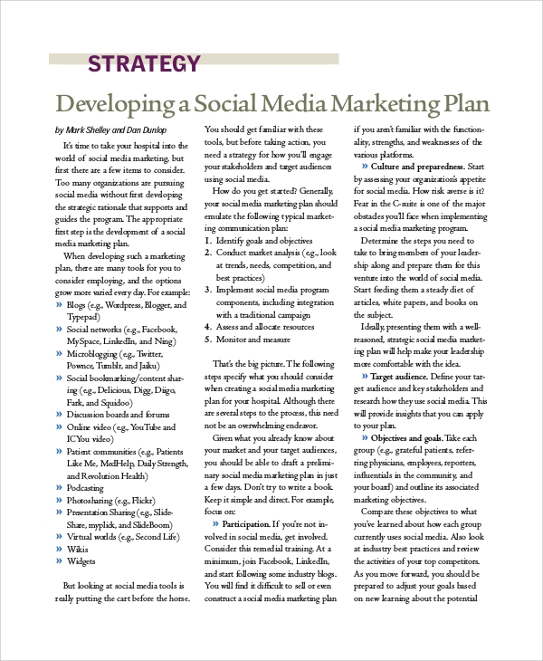 sle social media marketing plan template sle social media