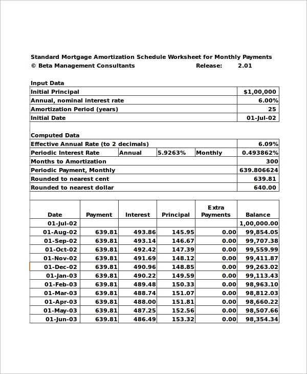 mortgage amortization schedule worksheet