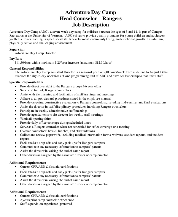 Sample Camp Counselor Job Description - 9+ Examples In Pdf