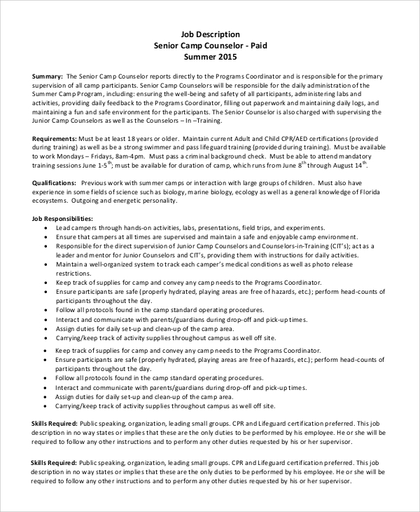 Sample Camp Counselor Job Description   Examples In Pdf