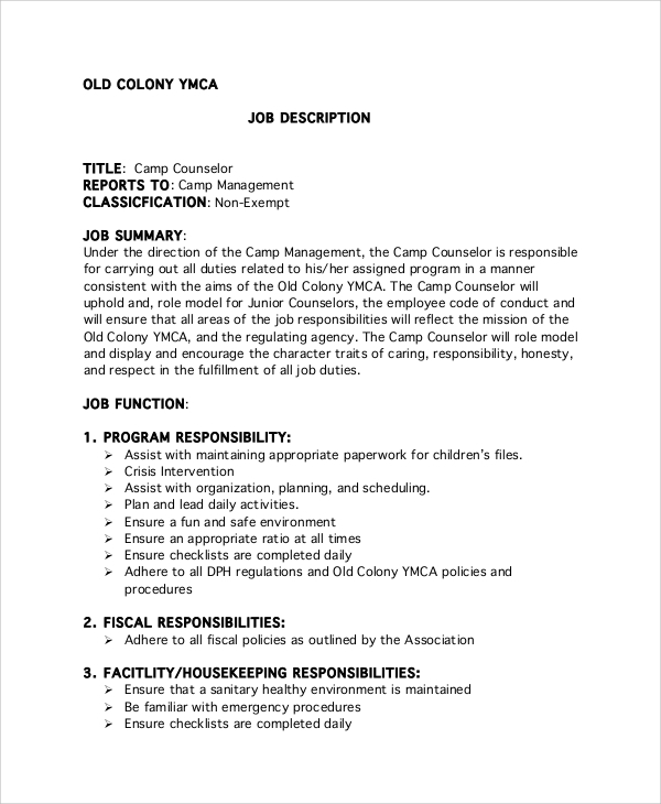 ymca camp counselor job description. Resume Example. Resume CV Cover Letter