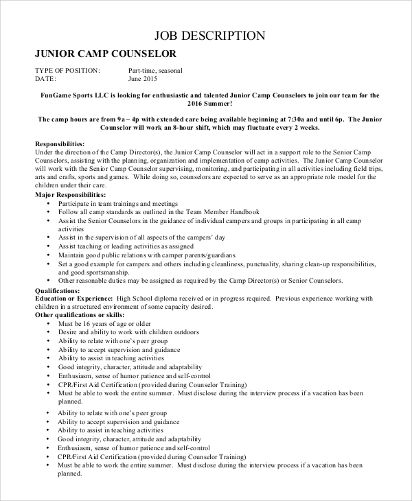 job description for junior camp counselor