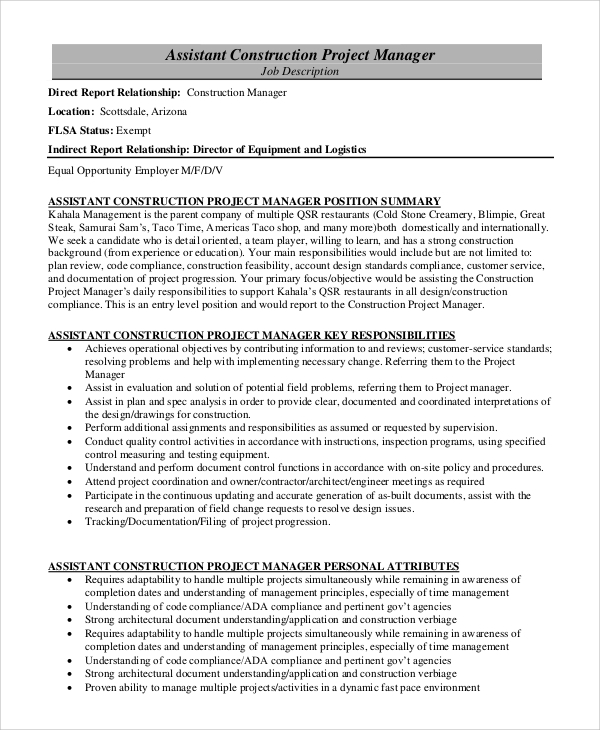 Sample Construction Project Manager Job Description - 8+ Examples