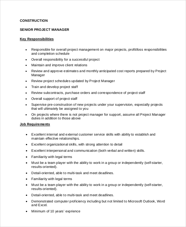 sample construction project manager job description 8 examples in pdf