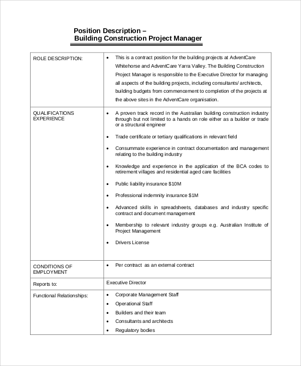 Sample Construction Project Manager Job Description - 8+