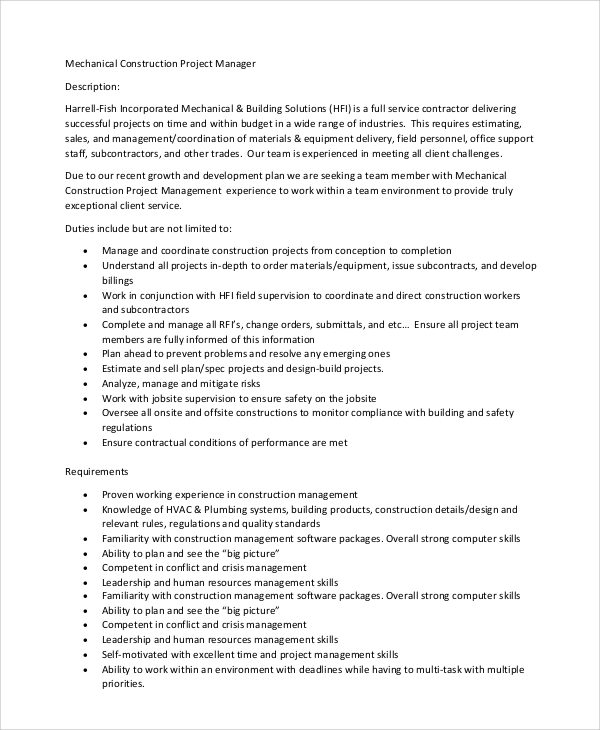 Sample Construction Project Manager Job Description   Examples