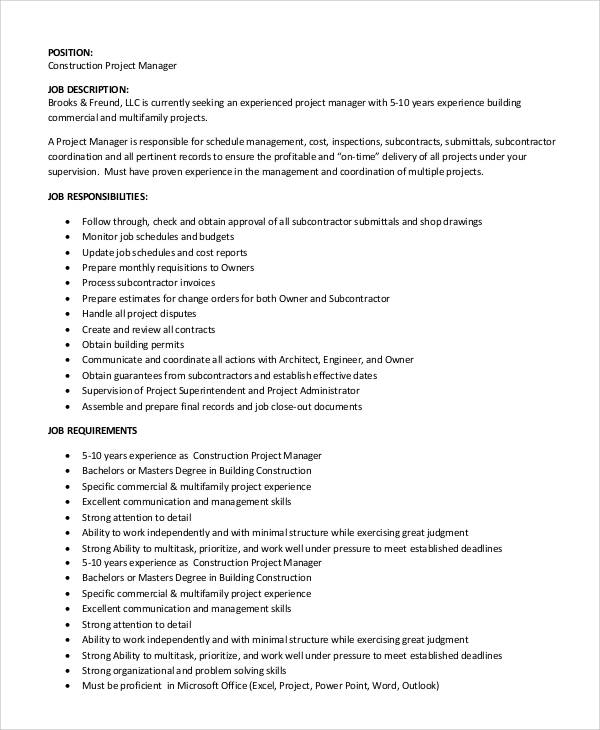 Sample Construction Project Manager Job Description   Examples In Pdf