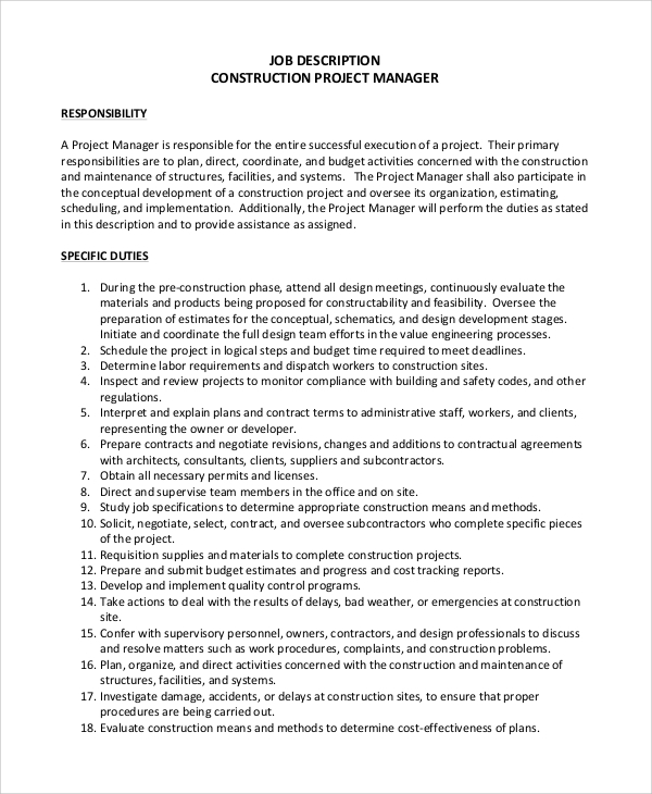 Project Manager Job Description The OwnerS Representative Series – Construction Project Manager Job Description