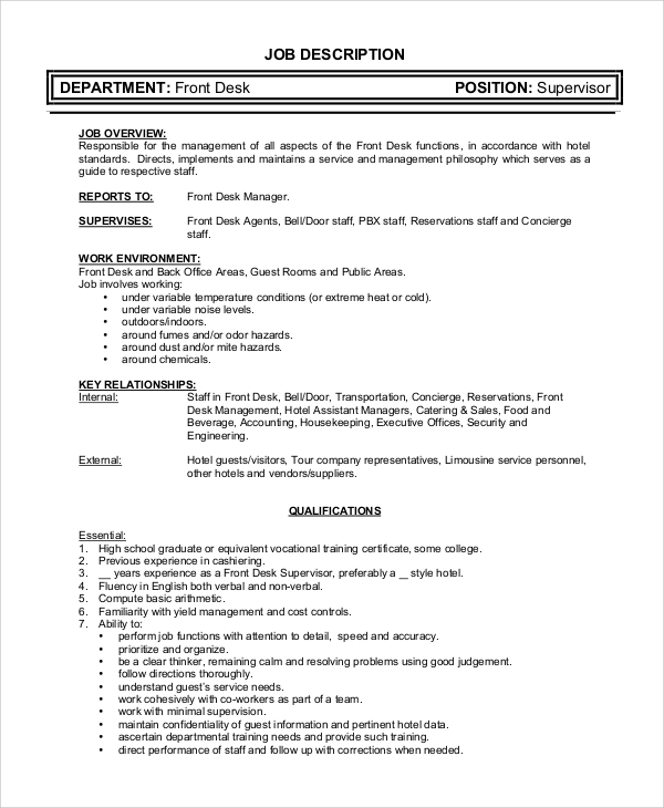Superieur Front Desk Supervisor Job Description Sample