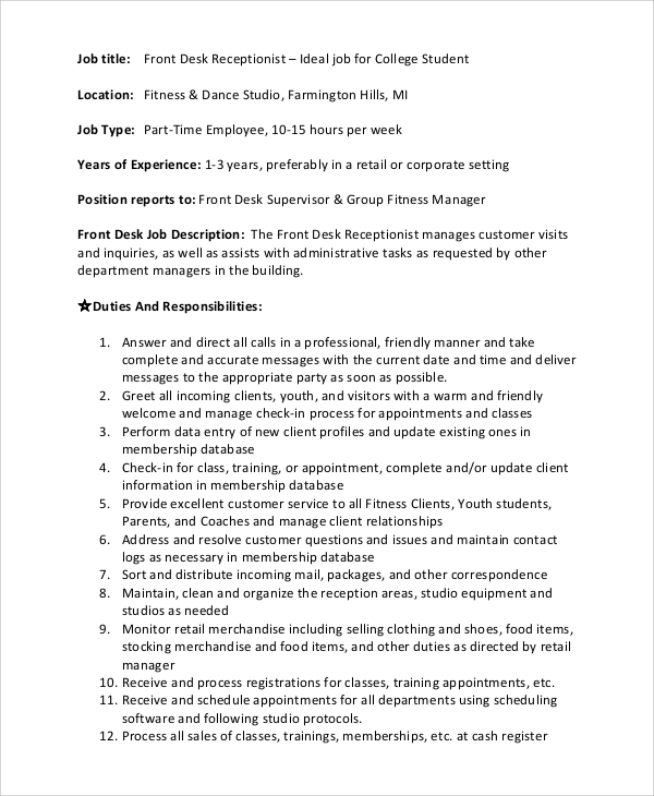 Sample Front Desk Job Description - 10+ Examples In Pdf, Word