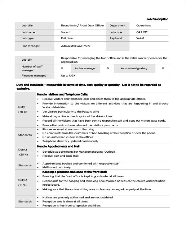 Sample Front Desk Job Description 10 Examples in PDF Word – Front Desk Job Description