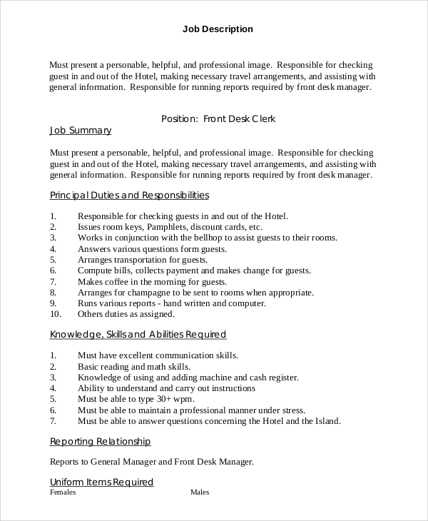 front desk clerk description whitevan