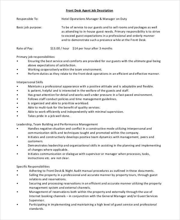 Sample Front Desk Job Description   Examples In Pdf Word