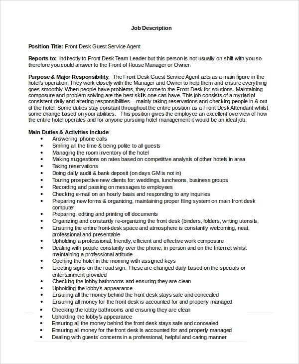 front desk agent cover letter sample