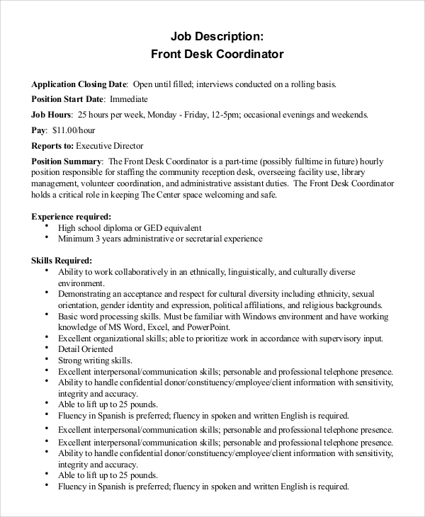 job description for front desk coordinator