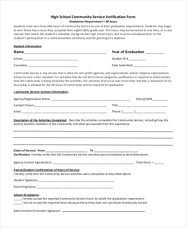 volunteer verification form template 10  Sample Community Service Forms | Sample Templates