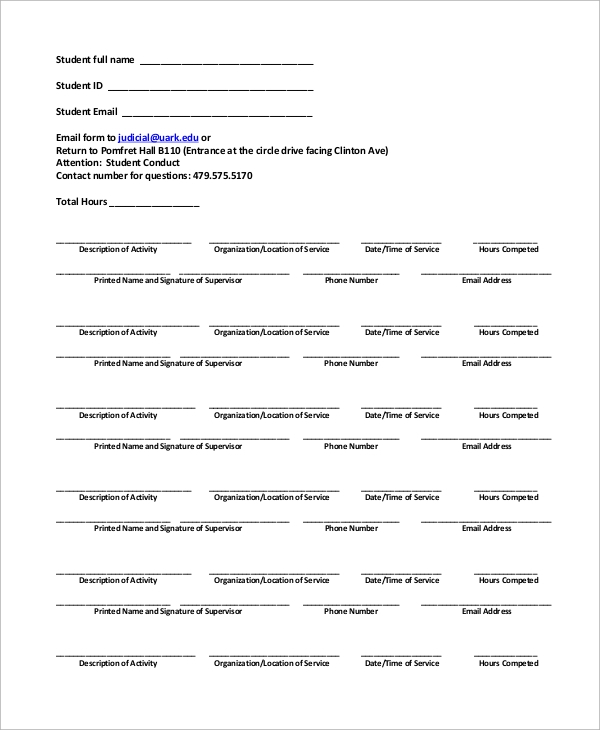 10 sample community service forms sample templates basic community service completion form sample thecheapjerseys Images