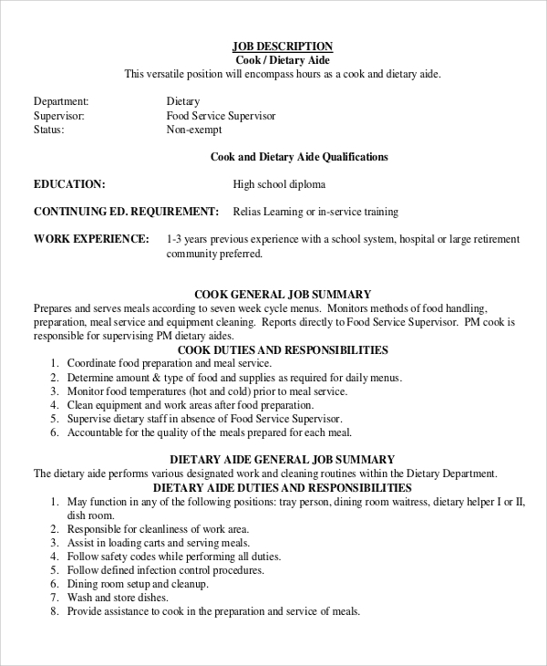 Sample Dietary Aide Job Description   Examples In Pdf