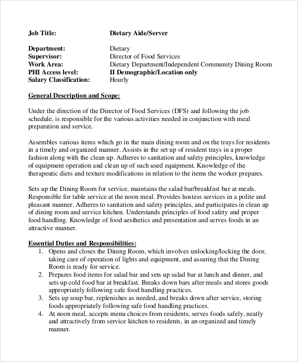 Sample Dietary Aide Job Description 9 Examples in PDF – Hostess Job Description