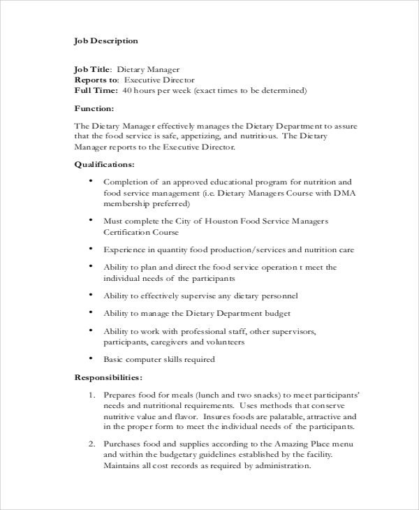 dietary aide manager job description