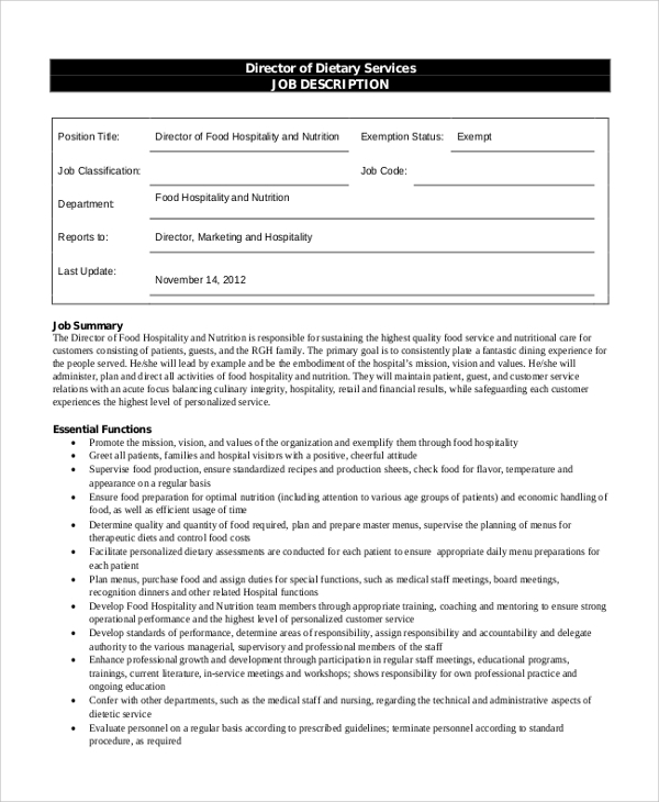 Sample Dietary Aide Job Description 9 Examples In Pdf