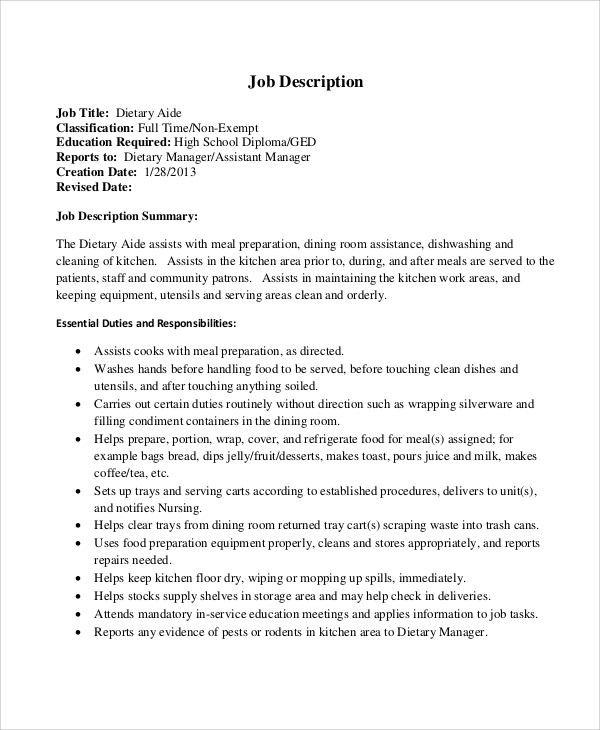 Sample Dietary Aide Job Description   Examples In
