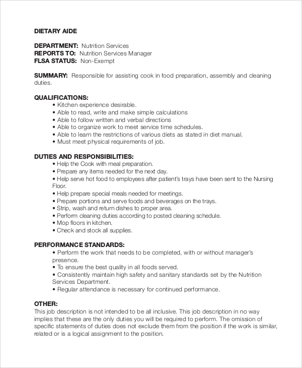 Sample Dietary Aide Job Description - 9+ Examples In Pdf
