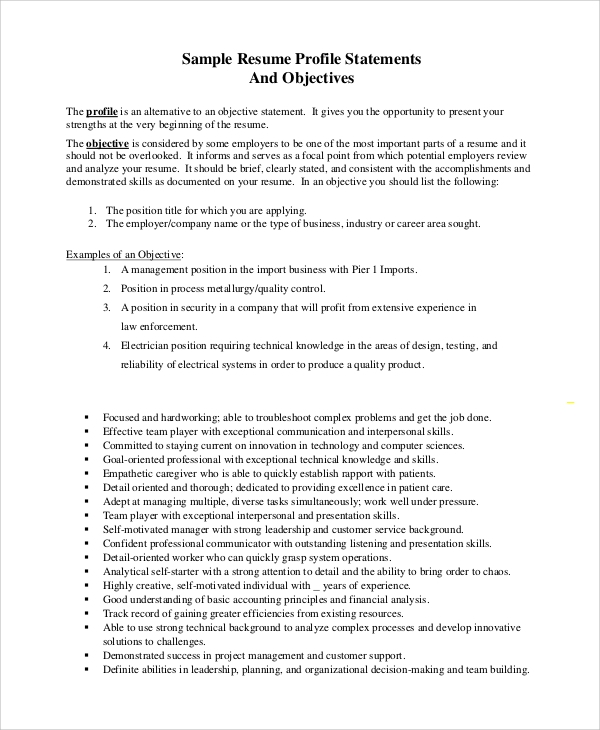 Sample Job Resumes Examples: 8+ Objective Statement Resume Samples